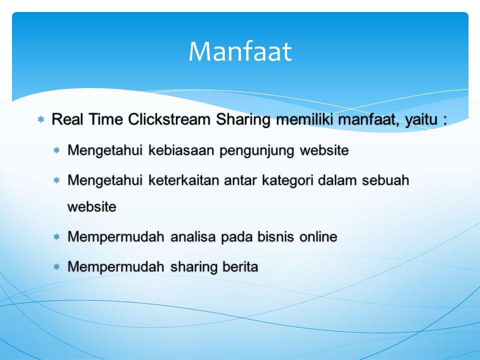  Real Time Clickstream Sharing memiliki manfaat, yaitu :  Mengetahui kebiasaan pengunjung website  Mengetahui keterkaitan antar kategori dalam sebuah website  Mempermudah analisa pada bisnis online  Mempermudah sharing berita Manfaat