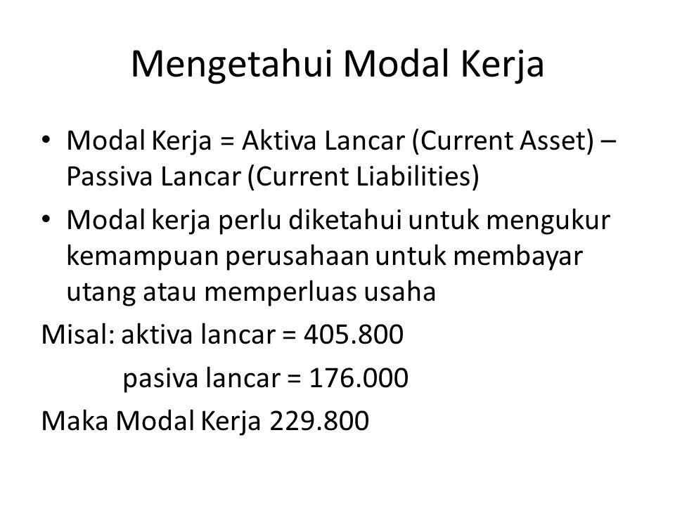 Mengetahui Modal Kerja Modal Kerja = Aktiva Lancar (Current Asset) – Passiva Lancar (Current Liabilities) Modal kerja perlu diketahui untuk mengukur k