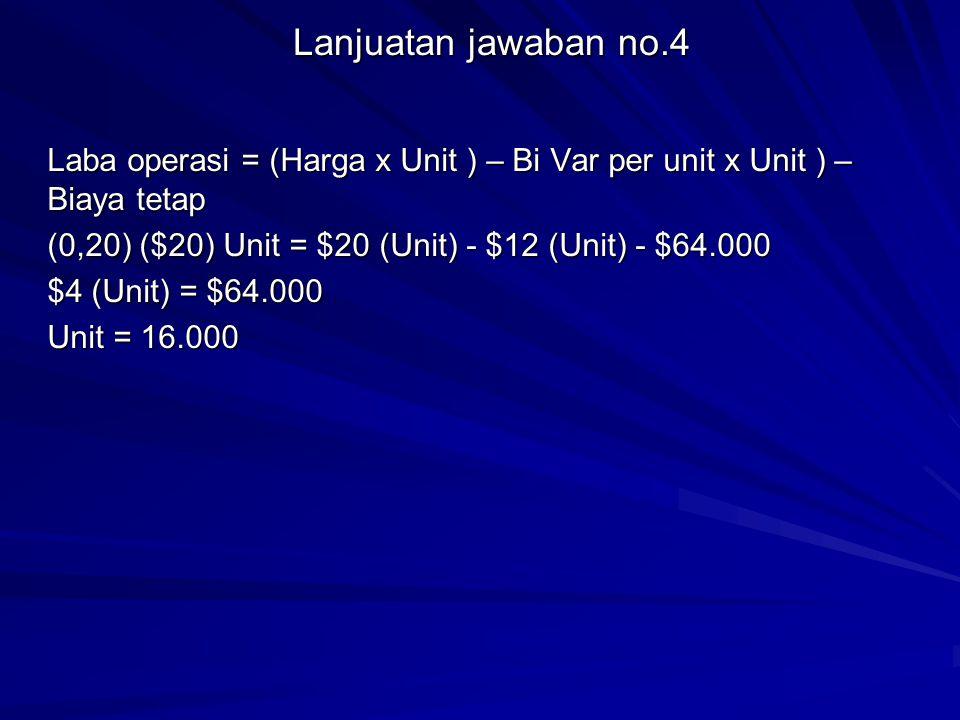 Lanjuatan jawaban no.4 Laba operasi = (Harga x Unit ) – Bi Var per unit x Unit ) – Biaya tetap (0,20) ($20) Unit = $20 (Unit) - $12 (Unit) - $64.000 $