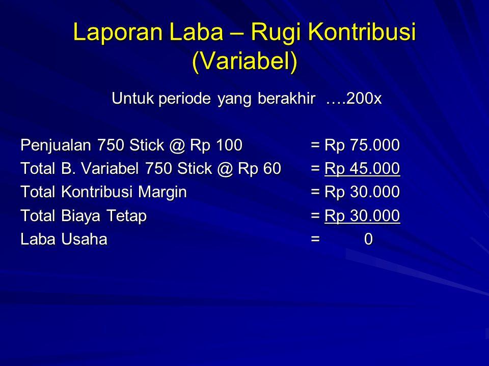 Biaya Variabel masing-masing Produk : Produk A=Rp 7.000 B=Rp 8.000 C=Rp 11.000 D=Rp 14.000 Maka titik impas Dihitung sbb: Perbandingan Volume ke 4 Produk adalah : 20 : 15 : 5 atau 4 : 3 : 2 :1 Titik Impas =Biaya Tetap Total Biaya Variabel 1 Penjualan Titik impas = Rp 320.000.000 Titik Impas dalam unit = Titik impas dalam Rp Dibagi dengan harga penjualan