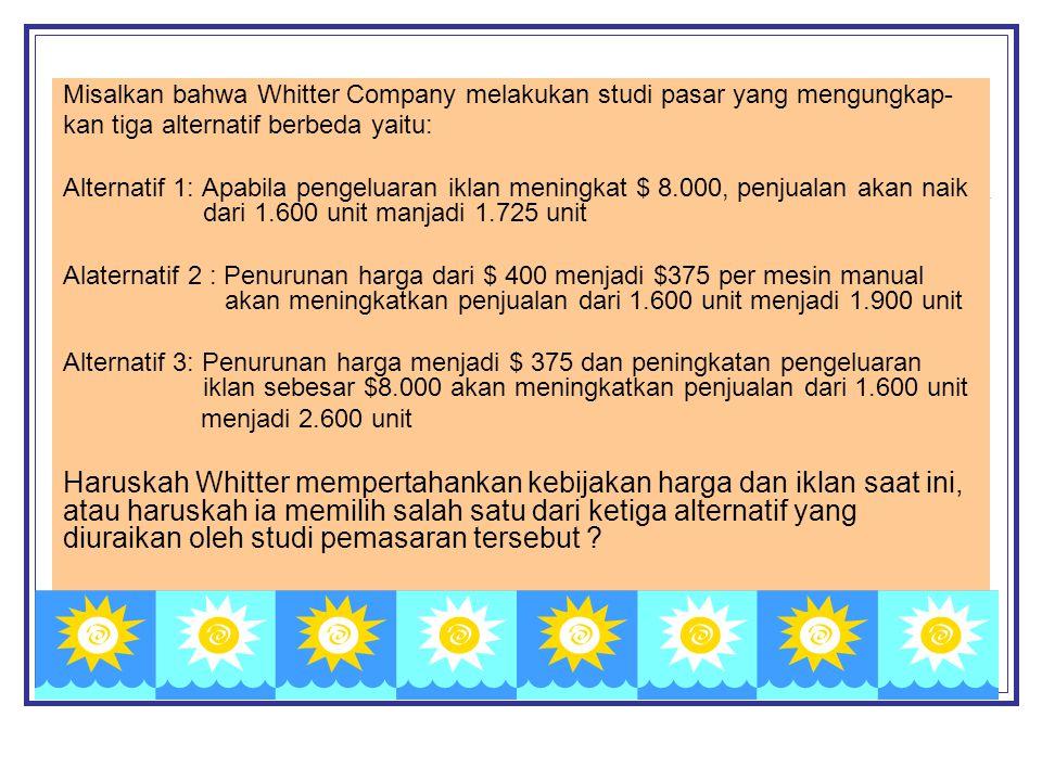 Misalkan bahwa Whitter Company melakukan studi pasar yang mengungkap- kan tiga alternatif berbeda yaitu: Alternatif 1: Apabila pengeluaran iklan menin