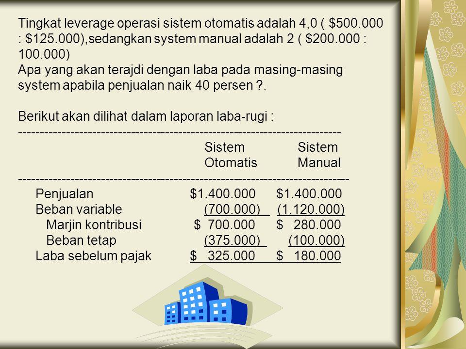 Tingkat leverage operasi sistem otomatis adalah 4,0 ( $500.000 : $125.000),sedangkan system manual adalah 2 ( $200.000 : 100.000) Apa yang akan terajd