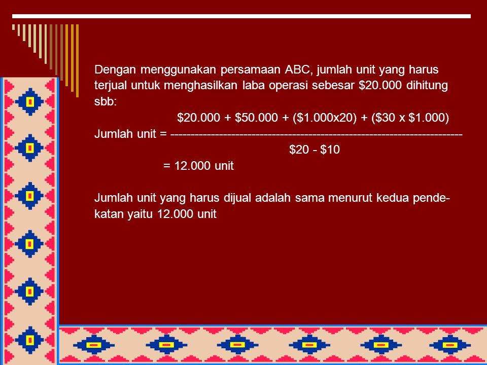 Dengan menggunakan persamaan ABC, jumlah unit yang harus terjual untuk menghasilkan laba operasi sebesar $20.000 dihitung sbb: $20.000 + $50.000 + ($1