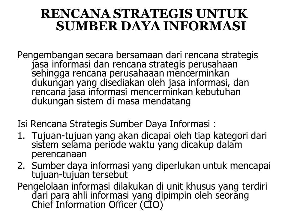 RENCANA STRATEGIS UNTUK SUMBER DAYA INFORMASI Pengembangan secara bersamaan dari rencana strategis jasa informasi dan rencana strategis perusahaan sehingga rencana perusahaaan mencerminkan dukungan yang disediakan oleh jasa informasi, dan rencana jasa informasi mencerminkan kebutuhan dukungan sistem di masa mendatang Isi Rencana Strategis Sumber Daya Informasi : 1.Tujuan-tujuan yang akan dicapai oleh tiap kategori dari sistem selama periode waktu yang dicakup dalam perencanaan 2.Sumber daya informasi yang diperlukan untuk mencapai tujuan-tujuan tersebut Pengelolaan informasi dilakukan di unit khusus yang terdiri dari para ahli informasi yang dipimpin oleh seorang Chief Information Officer (CIO)