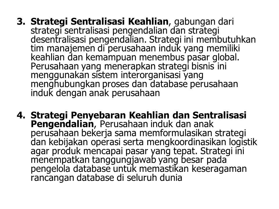 3.Strategi Sentralisasi Keahlian, gabungan dari strategi sentralisasi pengendalian dan strategi desentralisasi pengendalian. Strategi ini membutuhkan