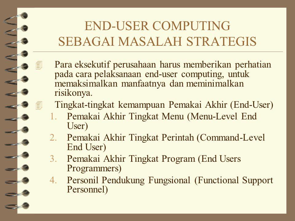 END-USER COMPUTING SEBAGAI MASALAH STRATEGIS 4 Para eksekutif perusahaan harus memberikan perhatian pada cara pelaksanaan end-user computing, untuk me