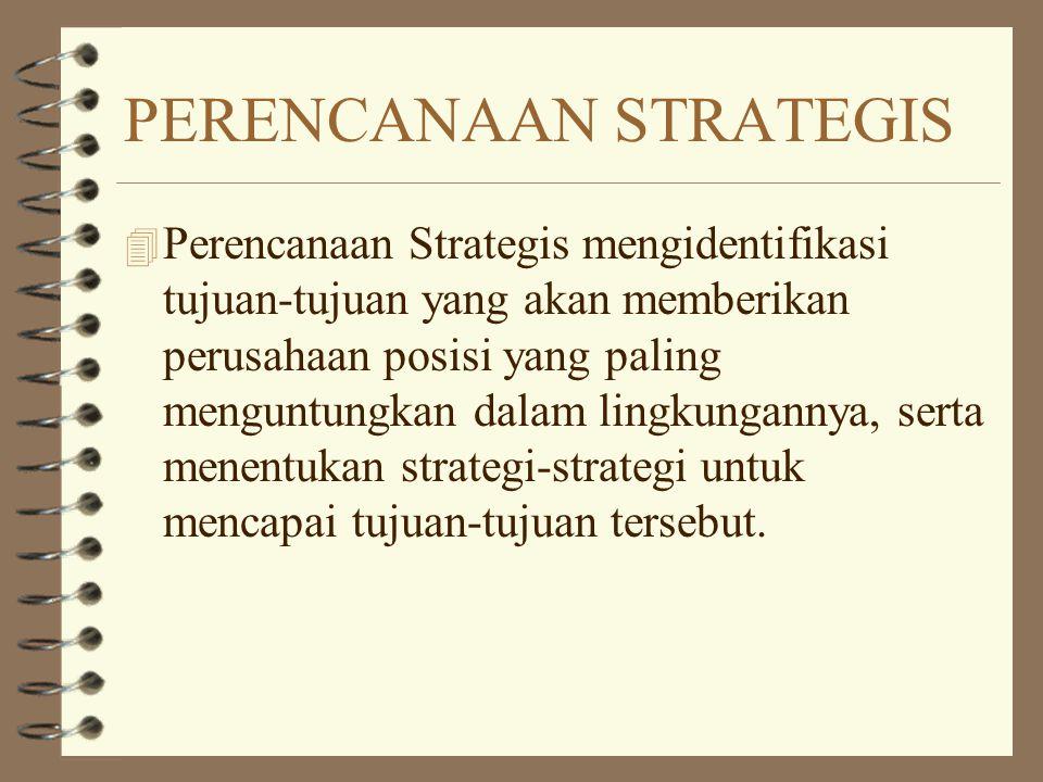 PERENCANAAN STRATEGIS 4 Perencanaan Strategis mengidentifikasi tujuan-tujuan yang akan memberikan perusahaan posisi yang paling menguntungkan dalam li