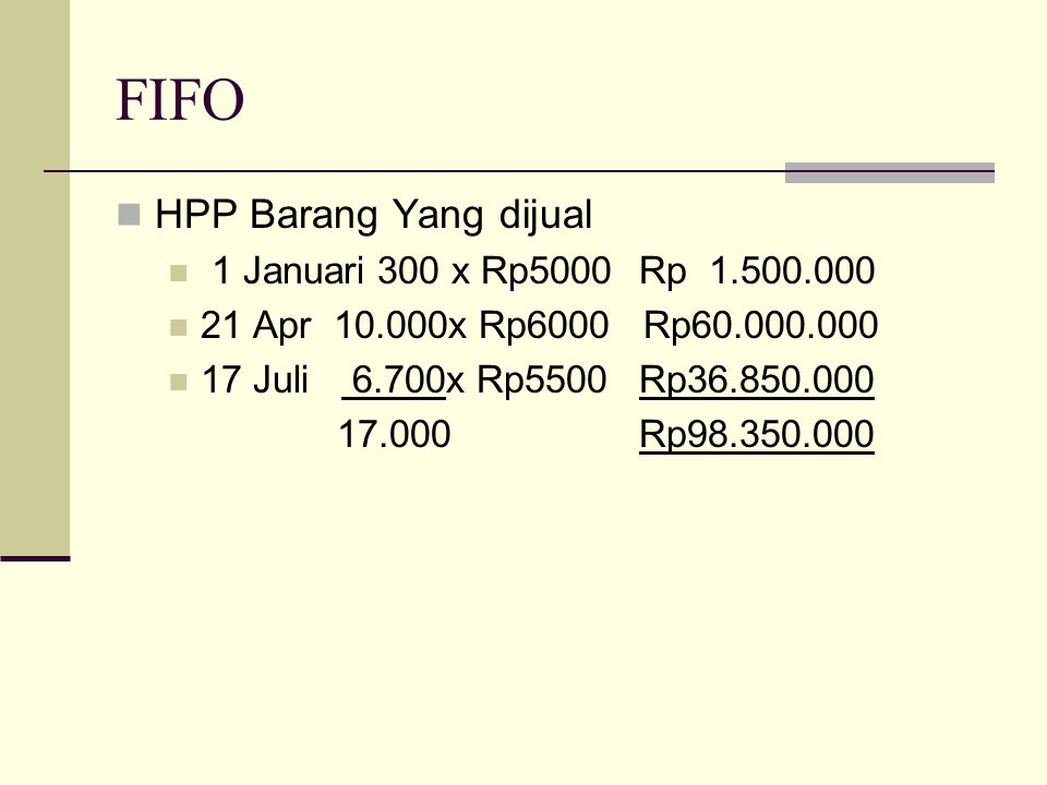 FIFO HPP Barang Yang dijual 1 Januari 300 x Rp5000Rp 1.500.000 21 Apr 10.000x Rp6000 Rp60.000.000 17 Juli 6.700x Rp5500Rp36.850.000 17.000Rp98.350.000