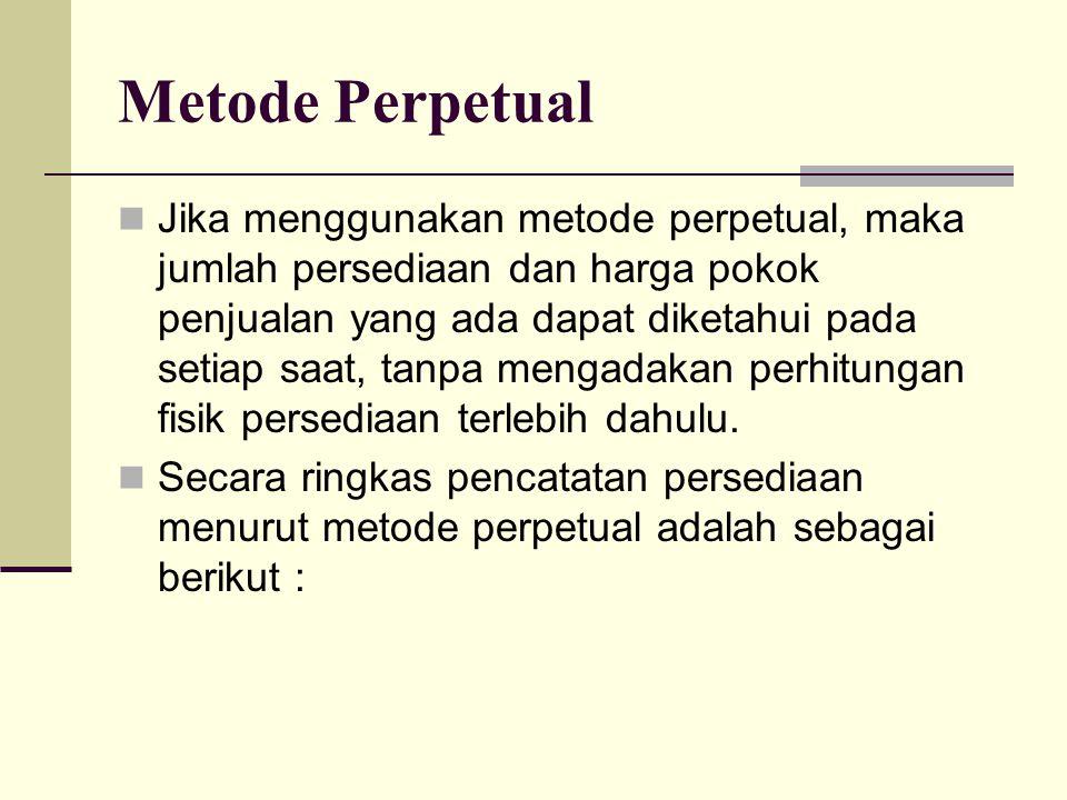 Metode Perpetual Jika menggunakan metode perpetual, maka jumlah persediaan dan harga pokok penjualan yang ada dapat diketahui pada setiap saat, tanpa
