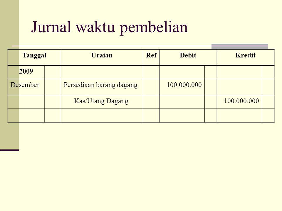 Jurnal waktu pembelian TanggalUraianRefDebitKredit 2009 DesemberPersediaan barang dagang100.000.000 Kas/Utang Dagang100.000.000