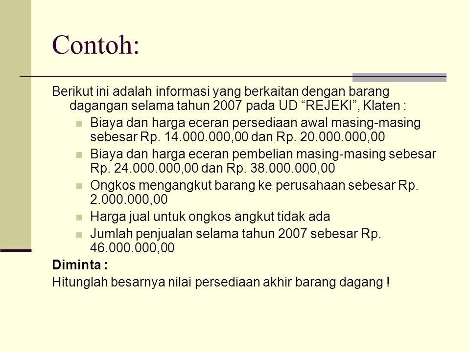 """Contoh: Berikut ini adalah informasi yang berkaitan dengan barang dagangan selama tahun 2007 pada UD """"REJEKI"""", Klaten : Biaya dan harga eceran persedi"""