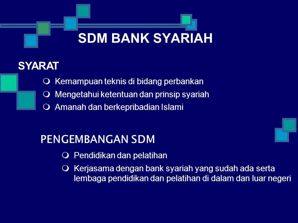 SDM BANK SYARIAH  Kemampuan teknis di bidang perbankan  Mengetahui ketentuan dan prinsip syariah  Amanah dan berkepribadian Islami  Pendidikan dan pelatihan  Kerjasama dengan bank syariah yang sudah ada serta lembaga pendidikan dan pelatihan di dalam dan luar negeri SYARAT PENGEMBANGAN SDM