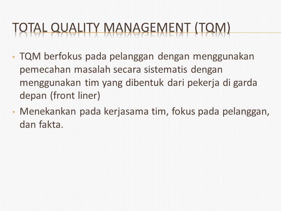 TQM berfokus pada pelanggan dengan menggunakan pemecahan masalah secara sistematis dengan menggunakan tim yang dibentuk dari pekerja di garda depan (f