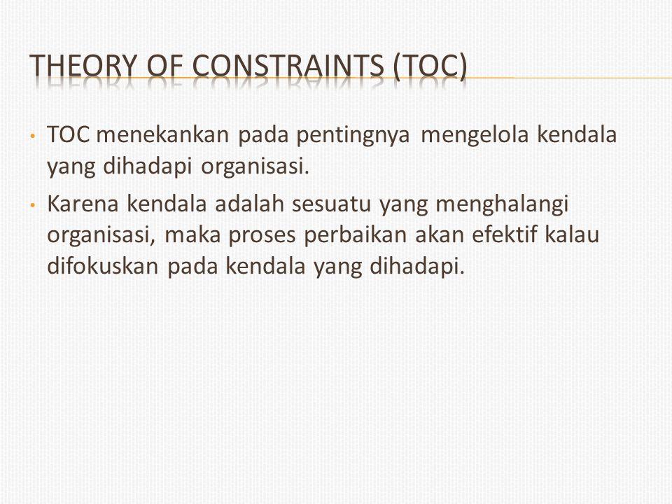 TOC menekankan pada pentingnya mengelola kendala yang dihadapi organisasi. Karena kendala adalah sesuatu yang menghalangi organisasi, maka proses perb