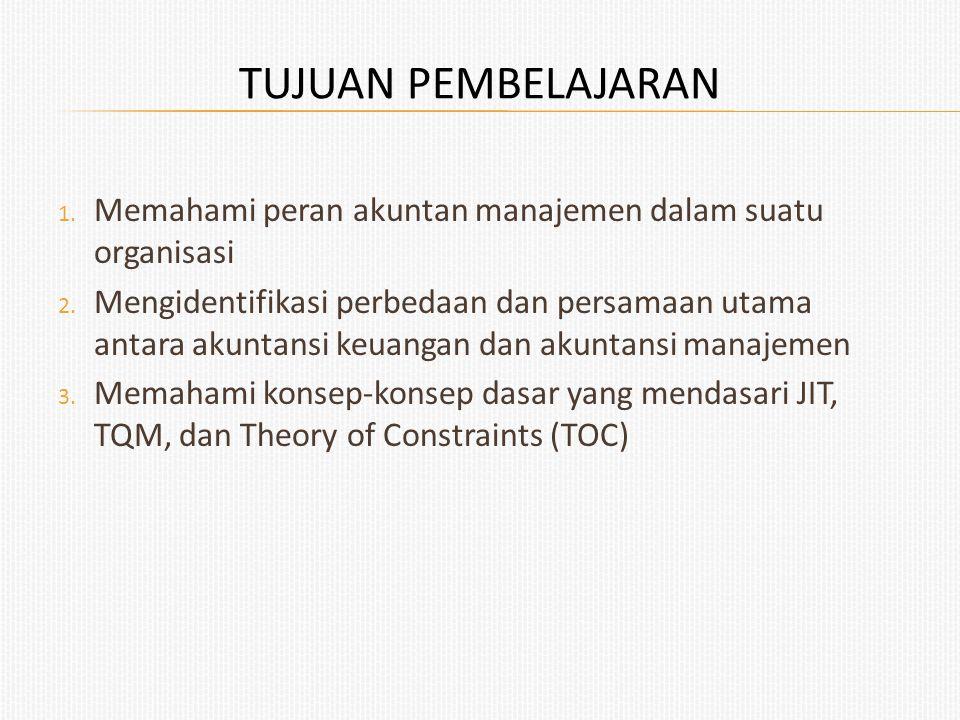 TUJUAN PEMBELAJARAN 1. Memahami peran akuntan manajemen dalam suatu organisasi 2. Mengidentifikasi perbedaan dan persamaan utama antara akuntansi keua