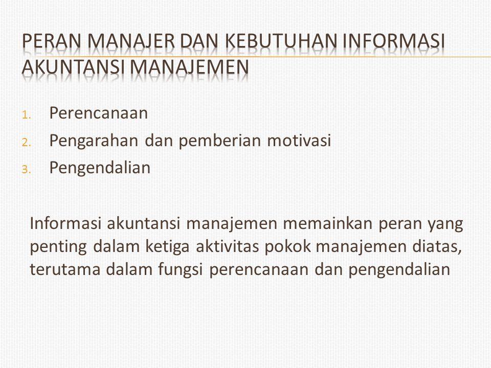 1. Perencanaan 2. Pengarahan dan pemberian motivasi 3. Pengendalian Informasi akuntansi manajemen memainkan peran yang penting dalam ketiga aktivitas