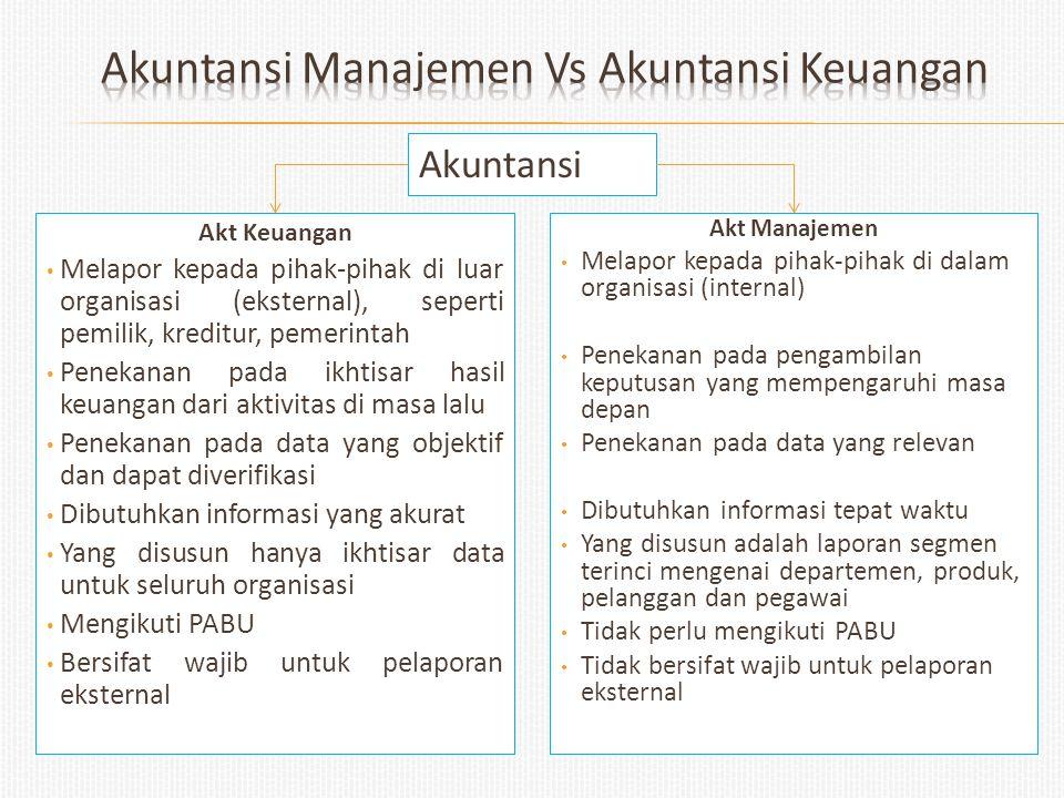 Akuntansi Akt Manajemen Melapor kepada pihak-pihak di dalam organisasi (internal) Penekanan pada pengambilan keputusan yang mempengaruhi masa depan Pe