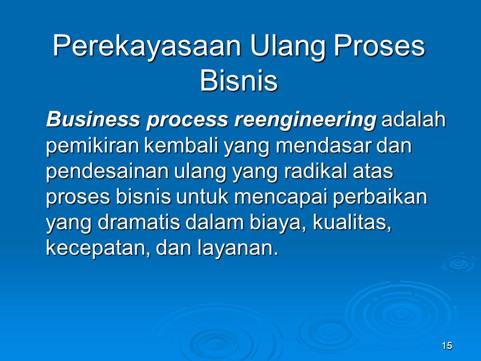 15 Perekayasaan Ulang Proses Bisnis Business process reengineering adalah pemikiran kembali yang mendasar dan pendesainan ulang yang radikal atas pros