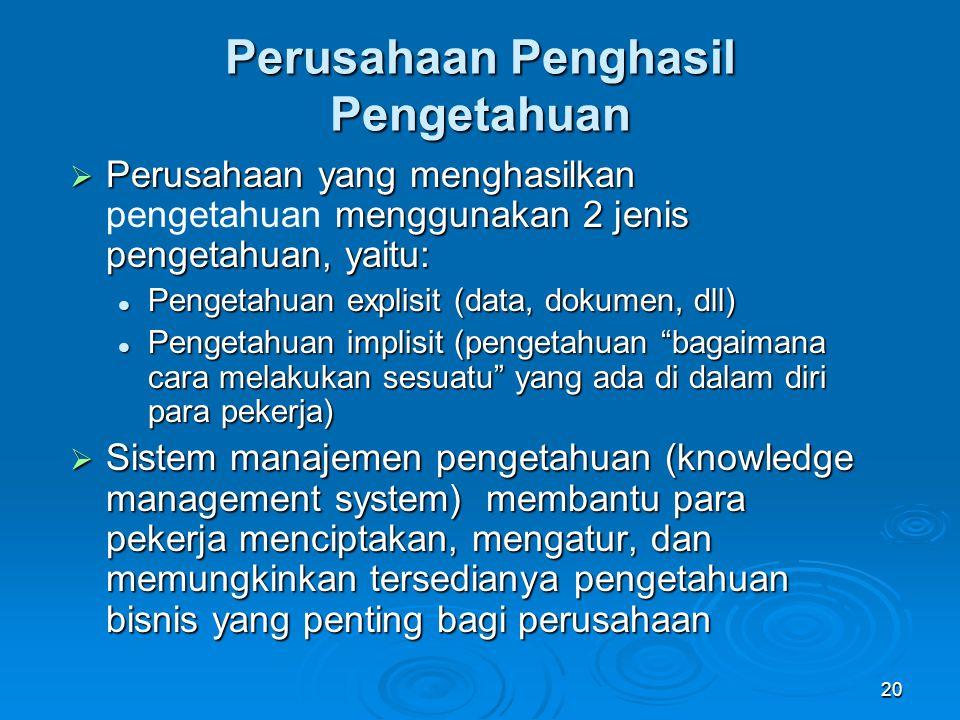 20 Perusahaan Penghasil Pengetahuan  Perusahaan yang menghasilkan menggunakan 2 jenis pengetahuan, yaitu:  Perusahaan yang menghasilkan pengetahuan