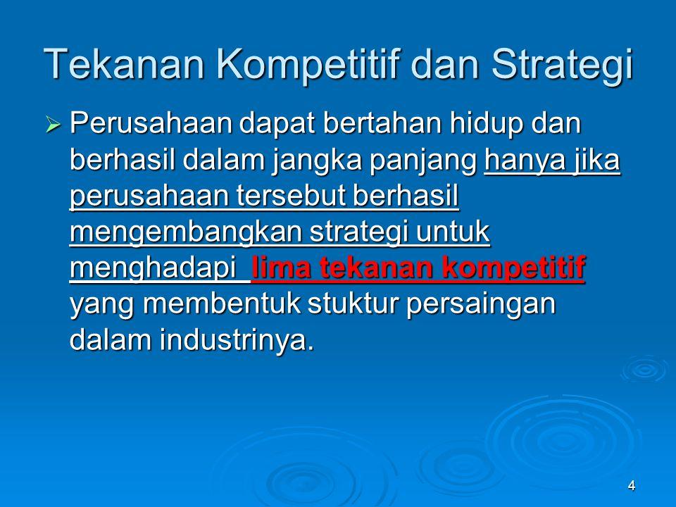 4  Perusahaan dapat bertahan hidup dan berhasil dalam jangka panjang hanya jika perusahaan tersebut berhasil mengembangkan strategi untuk menghadapi