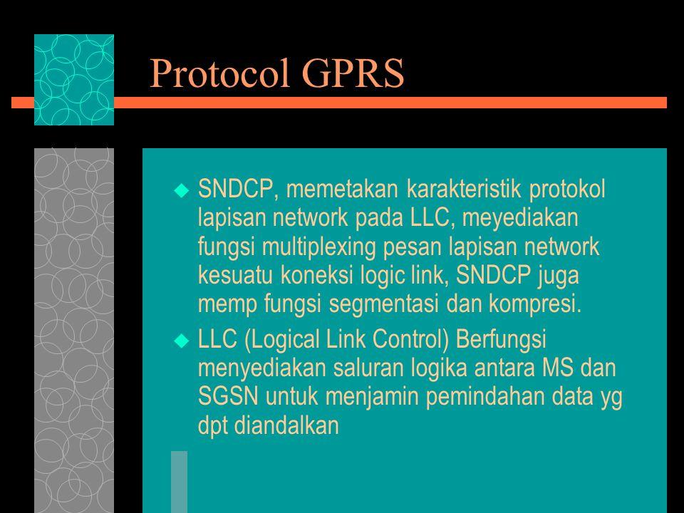 Protocol GPRS  SNDCP, memetakan karakteristik protokol lapisan network pada LLC, meyediakan fungsi multiplexing pesan lapisan network kesuatu koneksi logic link, SNDCP juga memp fungsi segmentasi dan kompresi.