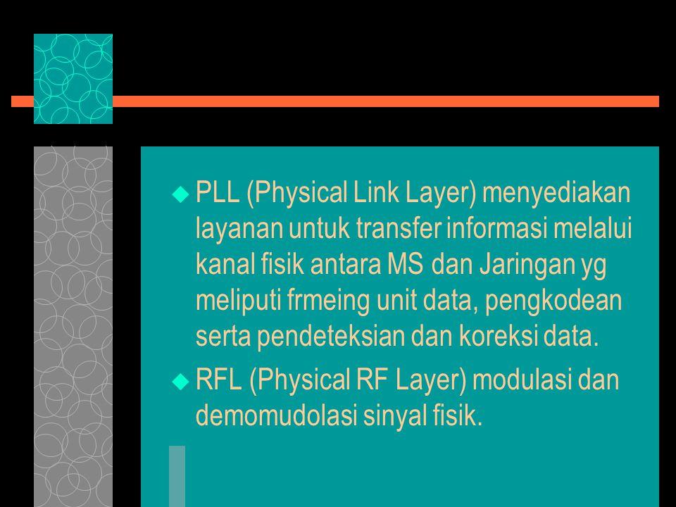  PLL (Physical Link Layer) menyediakan layanan untuk transfer informasi melalui kanal fisik antara MS dan Jaringan yg meliputi frmeing unit data, pengkodean serta pendeteksian dan koreksi data.