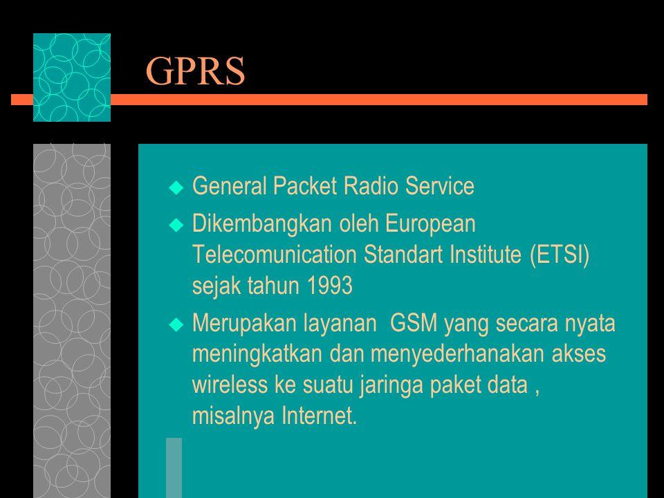 GPRS  General Packet Radio Service  Dikembangkan oleh European Telecomunication Standart Institute (ETSI) sejak tahun 1993  Merupakan layanan GSM y