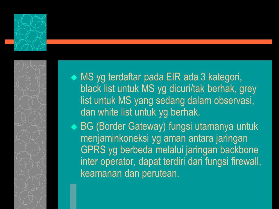  MS yg terdaftar pada EIR ada 3 kategori, black list untuk MS yg dicuri/tak berhak, grey list untuk MS yang sedang dalam observasi, dan white list un