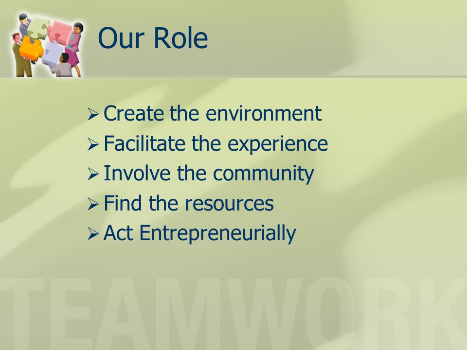 Our Role  Create the environment  Facilitate the experience  Involve the community  Find the resources  Act Entrepreneurially