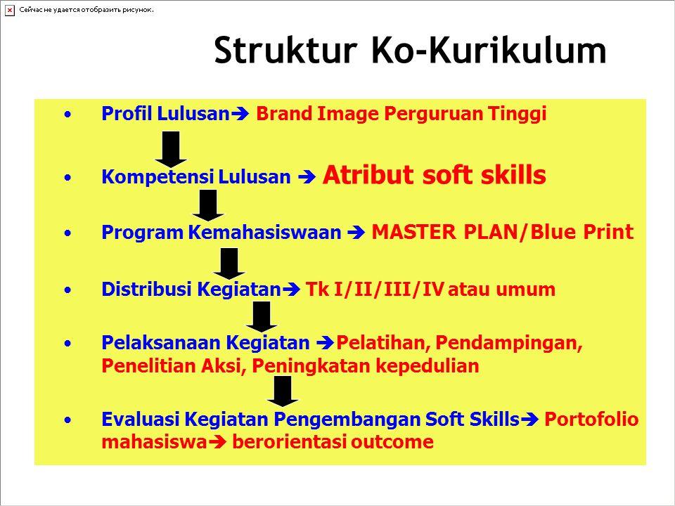 Struktur Ko-Kurikulum Profil Lulusan  Brand Image Perguruan Tinggi Kompetensi Lulusan  Atribut soft skills Program Kemahasiswaan  MASTER PLAN/Blue Print Distribusi Kegiatan  Tk I/II/III/IV atau umum Pelaksanaan Kegiatan  Pelatihan, Pendampingan, Penelitian Aksi, Peningkatan kepedulian Evaluasi Kegiatan Pengembangan Soft Skills  Portofolio mahasiswa  berorientasi outcome