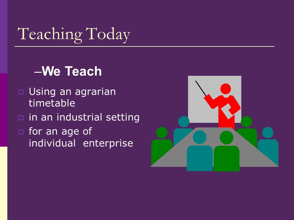 Teaching Today  Using an agrarian timetable  in an industrial setting  for an age of individual enterprise –We Teach