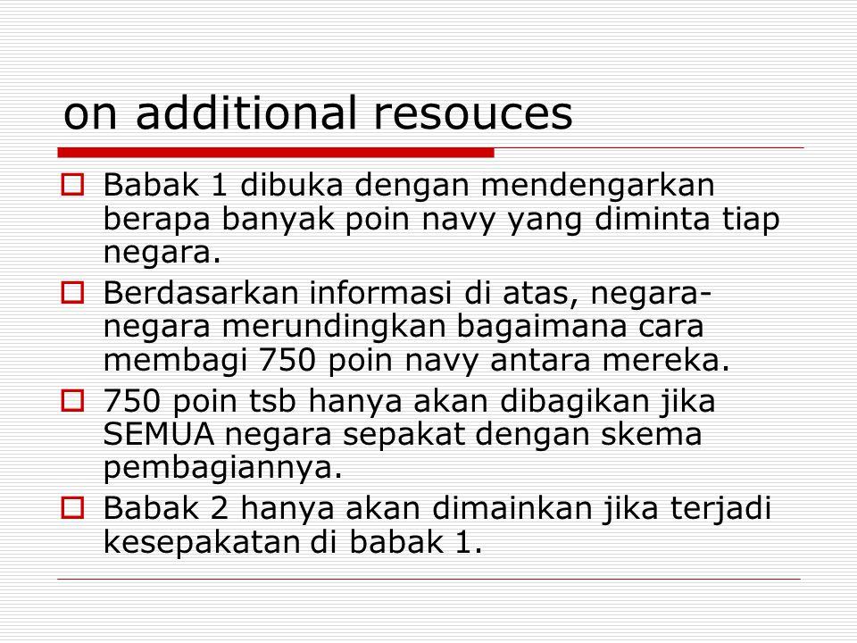 on additional resouces  Babak 1 dibuka dengan mendengarkan berapa banyak poin navy yang diminta tiap negara.