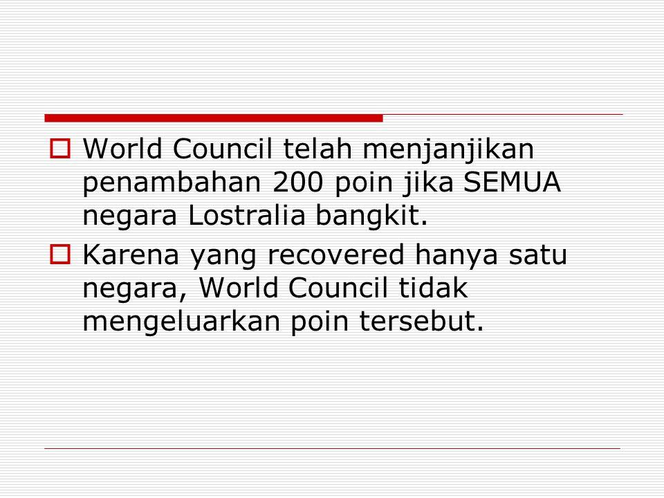  World Council telah menjanjikan penambahan 200 poin jika SEMUA negara Lostralia bangkit.