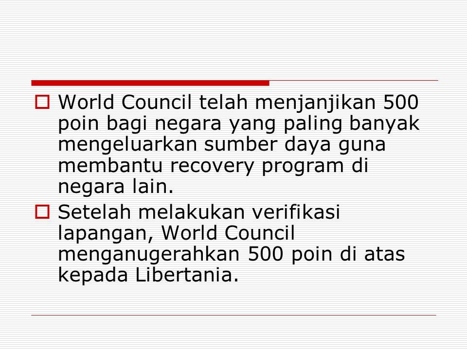  World Council telah menjanjikan 500 poin bagi negara yang paling banyak mengeluarkan sumber daya guna membantu recovery program di negara lain.