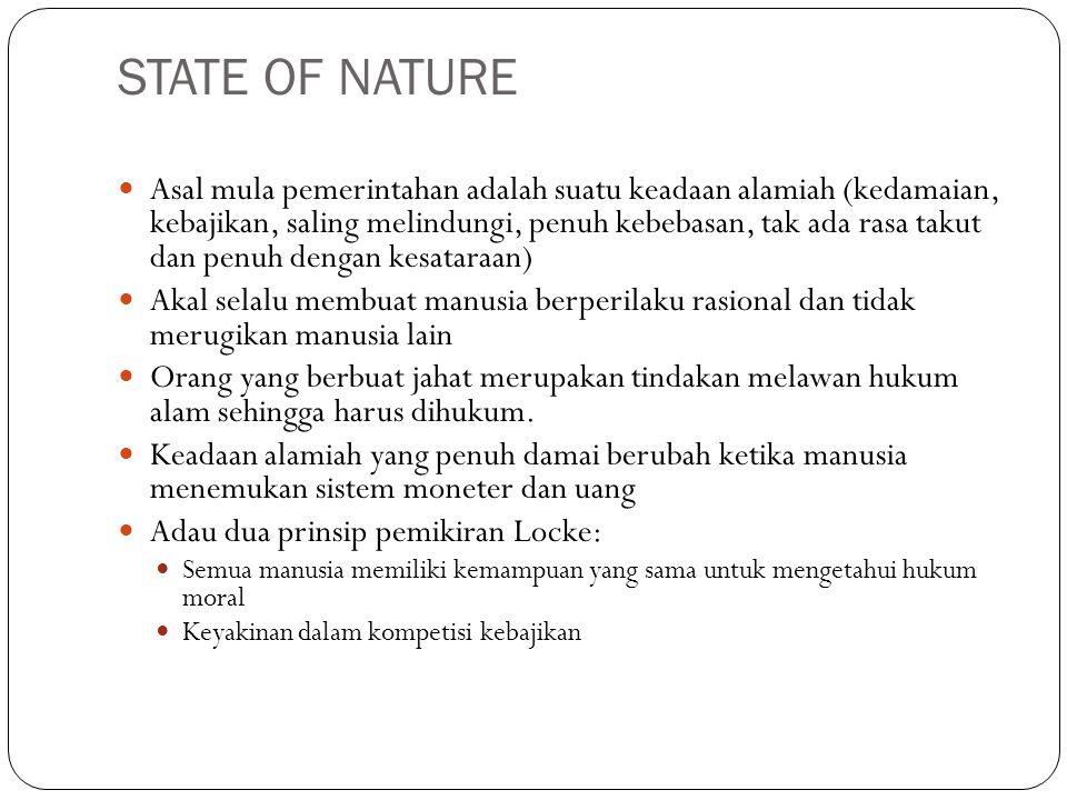 STATE OF NATURE Asal mula pemerintahan adalah suatu keadaan alamiah (kedamaian, kebajikan, saling melindungi, penuh kebebasan, tak ada rasa takut dan