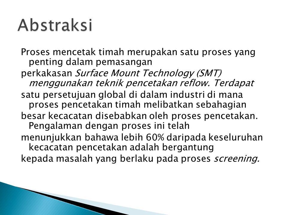 Proses mencetak timah merupakan satu proses yang penting dalam pemasangan perkakasan Surface Mount Technology (SMT) menggunakan teknik pencetakan refl
