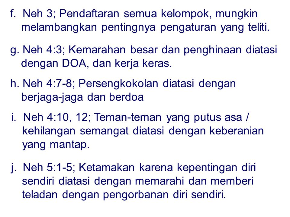 f.Neh 3; Pendaftaran semua kelompok, mungkin melambangkan pentingnya pengaturan yang teliti.