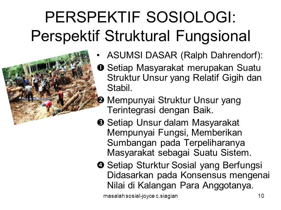 masalah sosial-joyce c.siagian11 PERSPEKTIF SOSIOLOGI: Perspektif Struktural Fungsional PENJELASAN: Perspektif ini melihat masyarakat sebagai susunan bagian-bagian yang saling berhubungan dan bekerja sama dalam memelihara stabilitas dalam masyarakat.