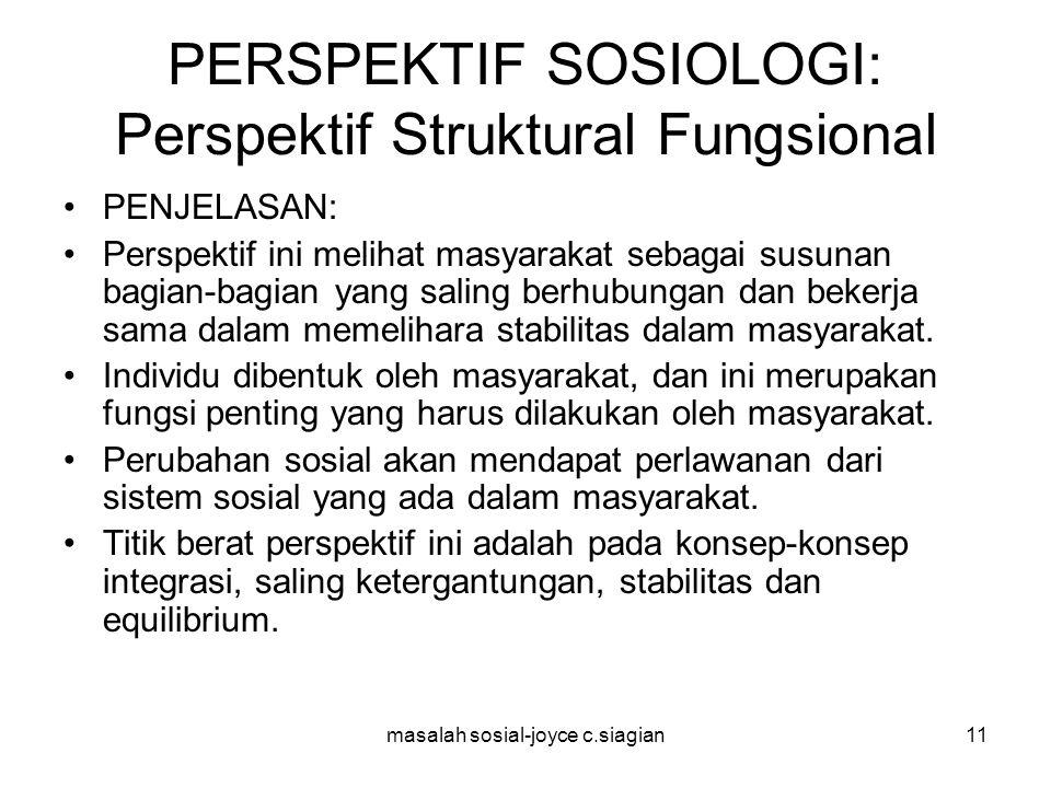 masalah sosial-joyce c.siagian12 PERSPEKTIF SOSIOLOGI: Perspektif Struktural Fungsional TOKOH: Klasik: Aguste Comte, Turner, Herbert Spencer, dan Emile Durkheim.