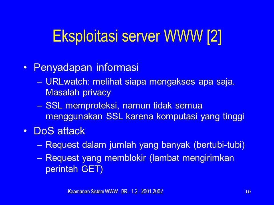 Keamanan Sistem WWW - BR - 1.2 - 2001.200210 Eksploitasi server WWW [2] Penyadapan informasi –URLwatch: melihat siapa mengakses apa saja.