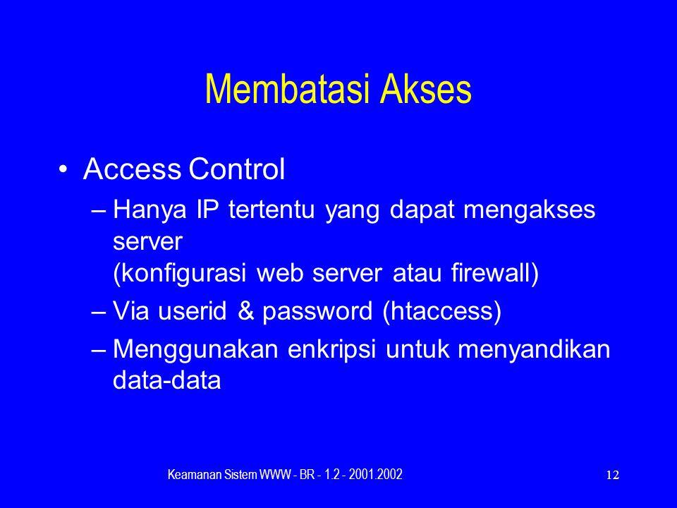Keamanan Sistem WWW - BR - 1.2 - 2001.200212 Membatasi Akses Access Control –Hanya IP tertentu yang dapat mengakses server (konfigurasi web server atau firewall) –Via userid & password (htaccess) –Menggunakan enkripsi untuk menyandikan data-data