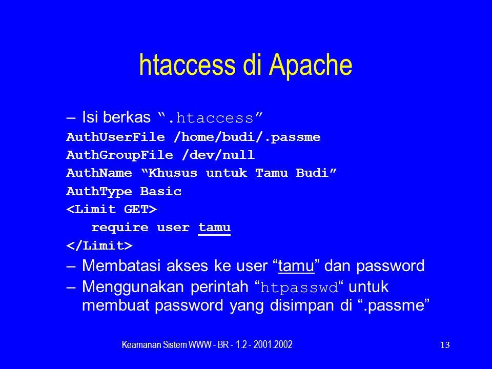Keamanan Sistem WWW - BR - 1.2 - 2001.200213 htaccess di Apache –Isi berkas .htaccess AuthUserFile /home/budi/.passme AuthGroupFile /dev/null AuthName Khusus untuk Tamu Budi AuthType Basic require user tamu –Membatasi akses ke user tamu dan password –Menggunakan perintah htpasswd untuk membuat password yang disimpan di .passme