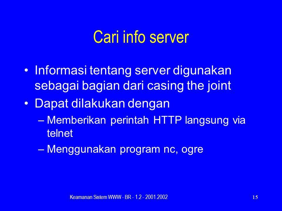 Keamanan Sistem WWW - BR - 1.2 - 2001.200215 Cari info server Informasi tentang server digunakan sebagai bagian dari casing the joint Dapat dilakukan dengan –Memberikan perintah HTTP langsung via telnet –Menggunakan program nc, ogre