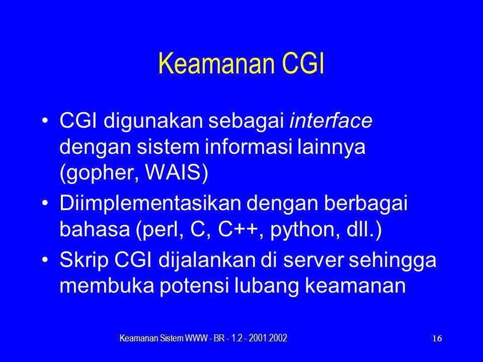 Keamanan Sistem WWW - BR - 1.2 - 2001.200216 Keamanan CGI CGI digunakan sebagai interface dengan sistem informasi lainnya (gopher, WAIS) Diimplementasikan dengan berbagai bahasa (perl, C, C++, python, dll.) Skrip CGI dijalankan di server sehingga membuka potensi lubang keamanan