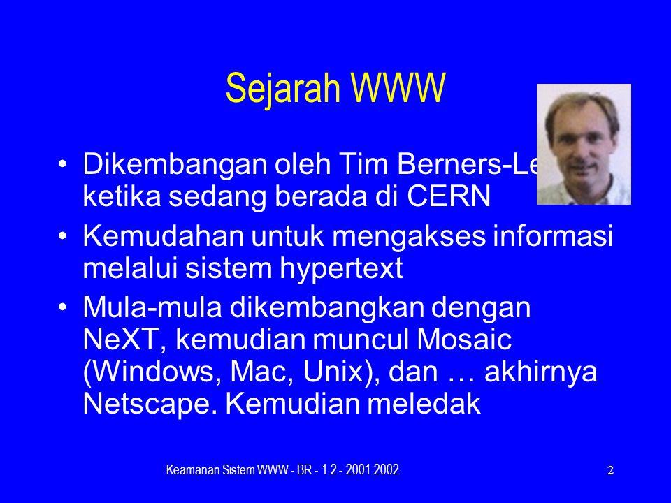 Keamanan Sistem WWW - BR - 1.2 - 2001.20022 Sejarah WWW Dikembangan oleh Tim Berners-Lee ketika sedang berada di CERN Kemudahan untuk mengakses informasi melalui sistem hypertext Mula-mula dikembangkan dengan NeXT, kemudian muncul Mosaic (Windows, Mac, Unix), dan … akhirnya Netscape.