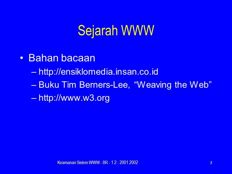Keamanan Sistem WWW - BR - 1.2 - 2001.20023 Sejarah WWW Bahan bacaan –http://ensiklomedia.insan.co.id –Buku Tim Berners-Lee, Weaving the Web –http://www.w3.org