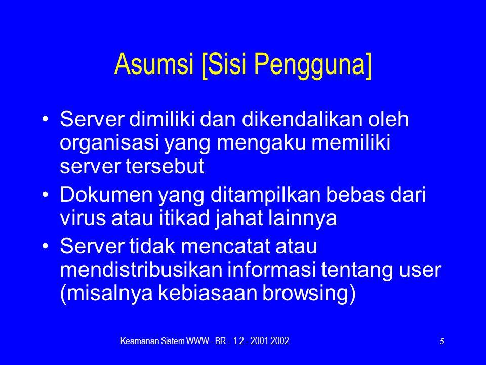 Keamanan Sistem WWW - BR - 1.2 - 2001.20025 Asumsi [Sisi Pengguna] Server dimiliki dan dikendalikan oleh organisasi yang mengaku memiliki server tersebut Dokumen yang ditampilkan bebas dari virus atau itikad jahat lainnya Server tidak mencatat atau mendistribusikan informasi tentang user (misalnya kebiasaan browsing)