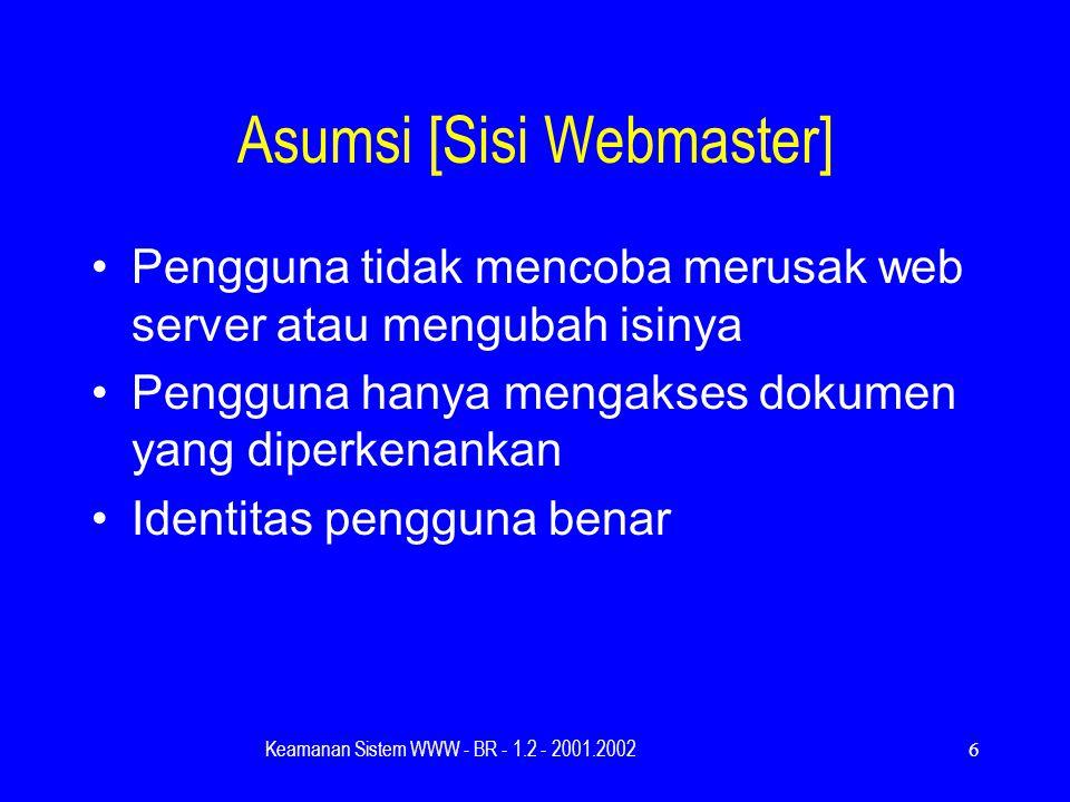 Keamanan Sistem WWW - BR - 1.2 - 2001.20026 Asumsi [Sisi Webmaster] Pengguna tidak mencoba merusak web server atau mengubah isinya Pengguna hanya mengakses dokumen yang diperkenankan Identitas pengguna benar