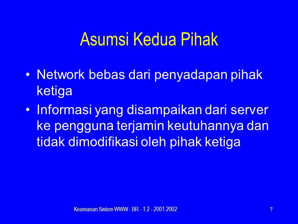 Keamanan Sistem WWW - BR - 1.2 - 2001.20027 Asumsi Kedua Pihak Network bebas dari penyadapan pihak ketiga Informasi yang disampaikan dari server ke pengguna terjamin keutuhannya dan tidak dimodifikasi oleh pihak ketiga