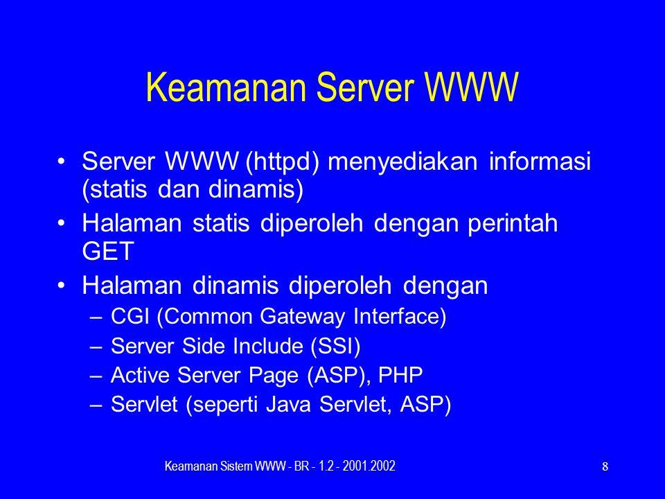 Keamanan Sistem WWW - BR - 1.2 - 2001.20028 Keamanan Server WWW Server WWW (httpd) menyediakan informasi (statis dan dinamis) Halaman statis diperoleh dengan perintah GET Halaman dinamis diperoleh dengan –CGI (Common Gateway Interface) –Server Side Include (SSI) –Active Server Page (ASP), PHP –Servlet (seperti Java Servlet, ASP)